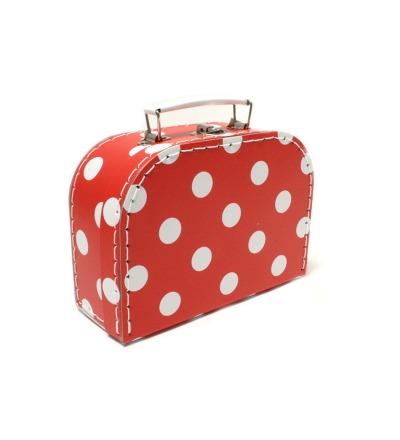 Koffer rot mit weissen Punkten klein