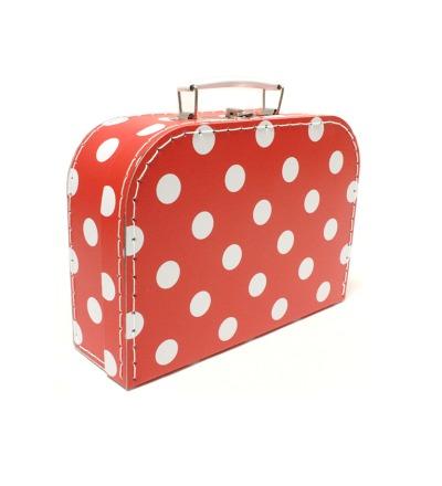 Koffer rot mit weissen Punkten mittel