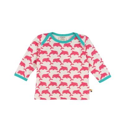 LOUD PROUD Baby Langarm-Shirt Delfine coralle BIO Baumwolle kbA