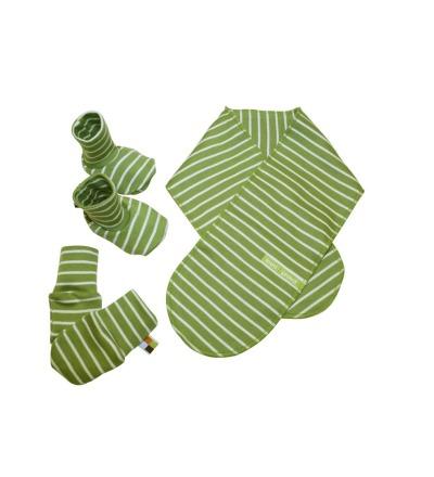LOUD PROUD Newborn-Set Ringel grün Schuhe Schal Handschuh
