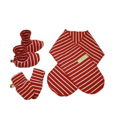 LOUD PROUD Newborn-Set Ringel tomato Schuhe Schal