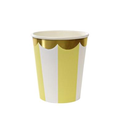 MERI MERI Pappbecher Streifen gelb 8er-Set