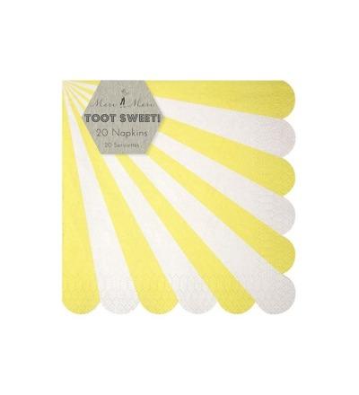 MERI MERI Servietten gross mit Streifen gelb