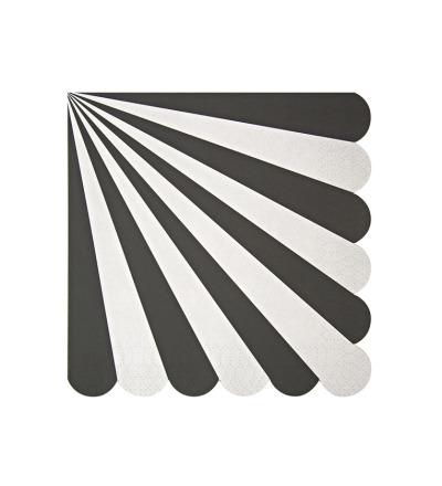 MERI MERI Servietten gross mit Streifen schwarz
