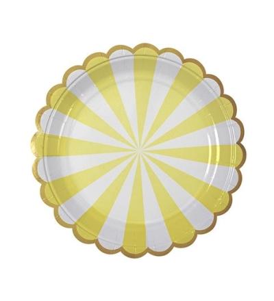 MERI MERI Teller gross mit Streifen gelb 8er Set