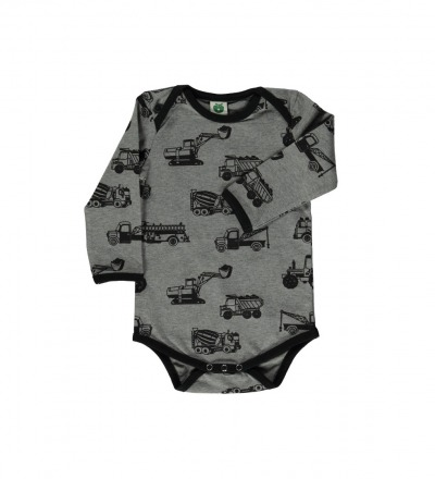 Smafolk Baby Body Langarm Machines Betonmischer Bagger Grey Mix