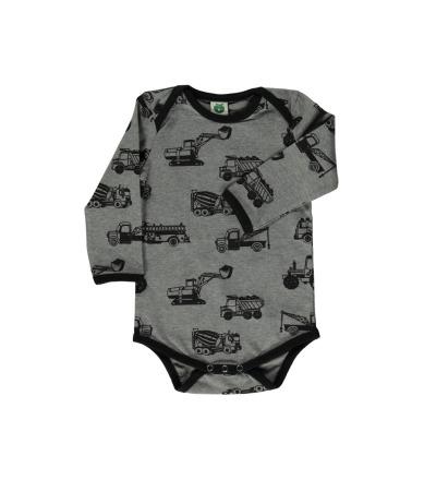 Smafolk Baby Body Langarm Machines Betonmischer Bagger Grey Mix