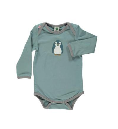 Smafolk Baby Body Langarm Baby Pinguin Stone Blue - Die Baby Pingine-Design-Serie wurde von Smafolk in Kooperation mit der Zeitschrift Eltern entwickelt.