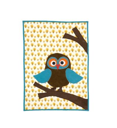 Owl Quilted Blanket BIO Baumwolle kbA Steppdecke