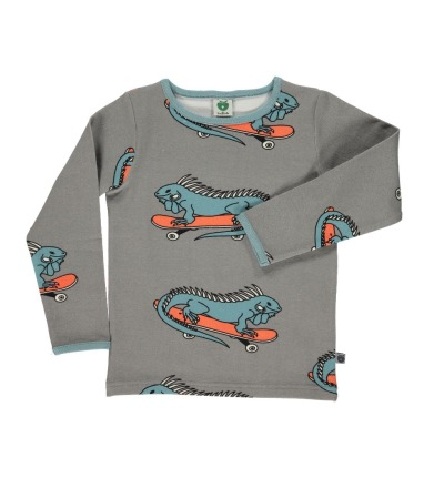 SMAFOLK Kinder Shirt l/s grau mit Leguan