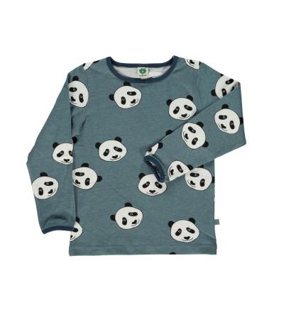 SMAFOLK Kinder Langarm Shirt Panda Gesicht Bluestone