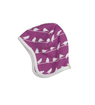 PIGEON Babymütze Wendemütze Vögel lila Bio