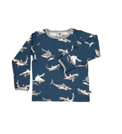 SMAFOLK Kinder Shirt l/s dunkelblau mit Hai