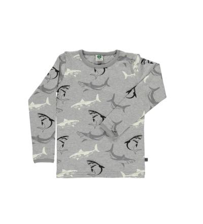 SMAFOLK Kinder Shirt l/s grau mit Haien