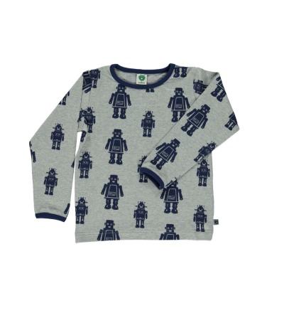 SMAFOLK Kinder Shirt l/s grau mit Roboter