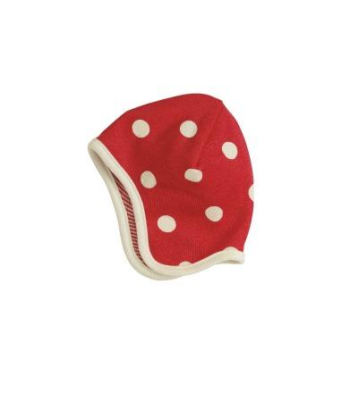 PIGEON Babymütze Wendemütze Tupfen rot Bio Baumwolle