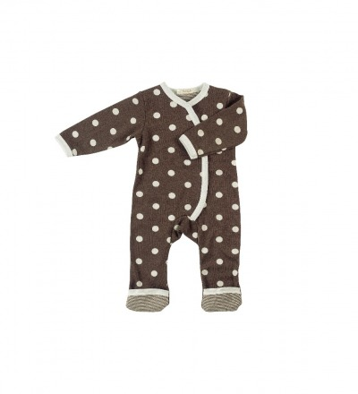PIGEON Overall Strampler Brown Punkte BIO