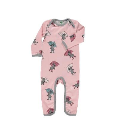 Smafolk Baby Strampler Spieler Jumpsuit Hase mit Regenschirm Sliver Pink