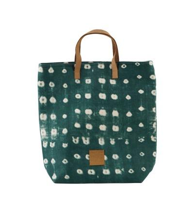 HOUSE DOCTOR Shopping bag, Dots, green 41x38 cm