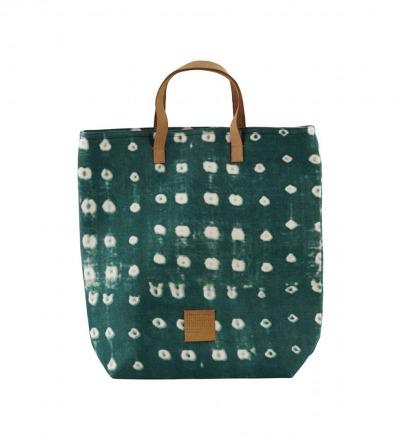 HOUSE DOCTOR Shopping bag, Dots, green 41x38 cm