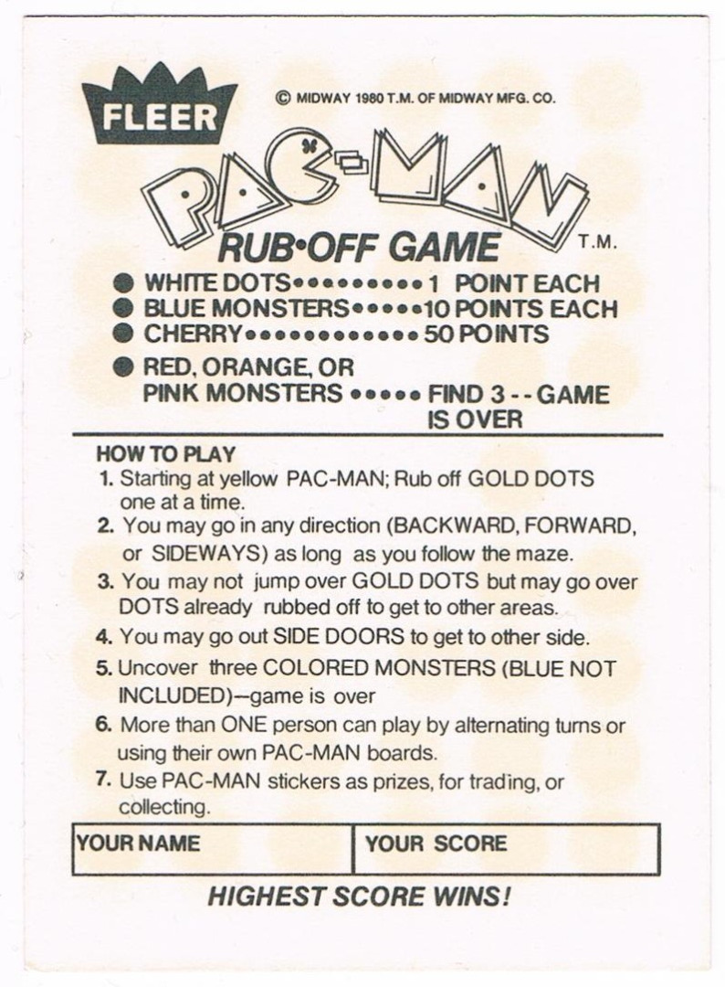 PAC MAN Rubbelkarte Rub-Off Card Fleer