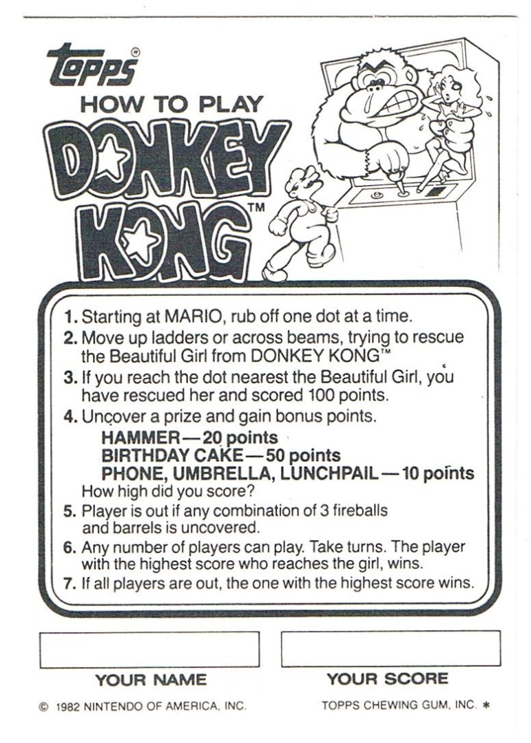DONKEY KONG Rubbelkarte Rub-Off Card Nintendo