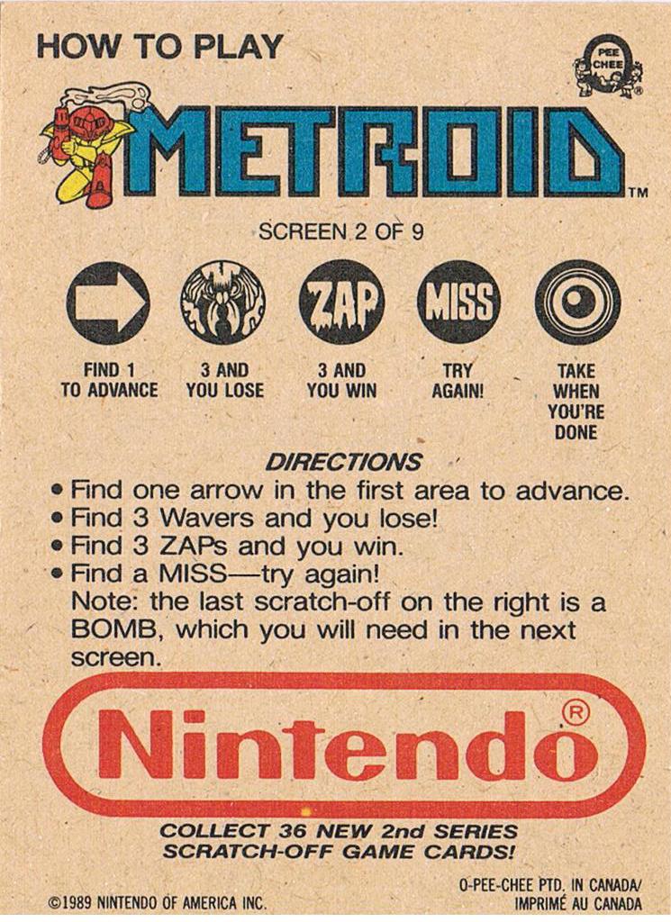 Nintendo Rubbelkarte - Metroid - Screen