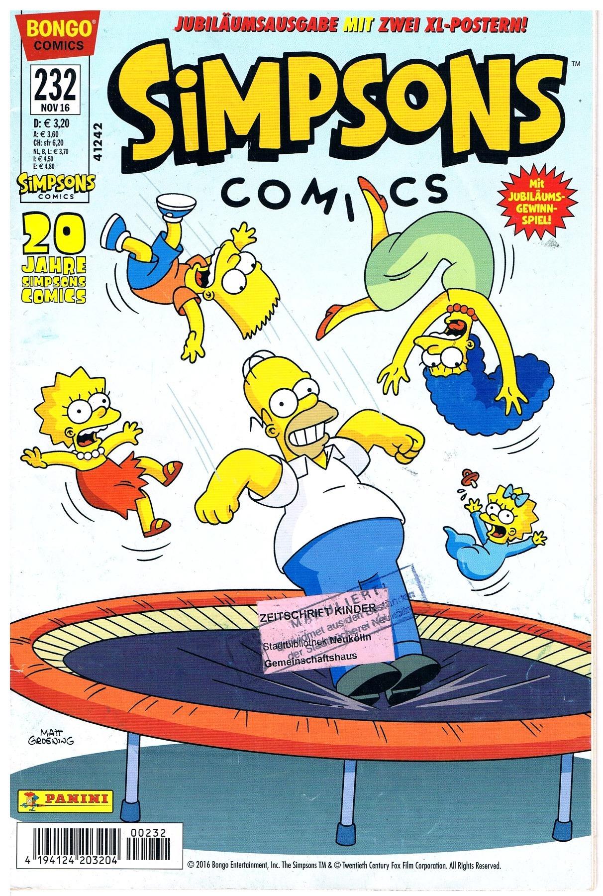 Simpsons Comics Heft Ausgabe Nov 2016