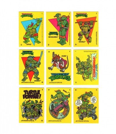 Ninja Turtles / Teenage Mutant Hero Turtles - 9 Sticker von 1989 - Topps 1989