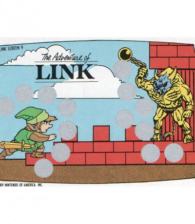 The Legend of Zelda - The Adventure of Link - Nintendo NES Rubbelkarte von 1989 - Nintendo Game Pack Serie 2