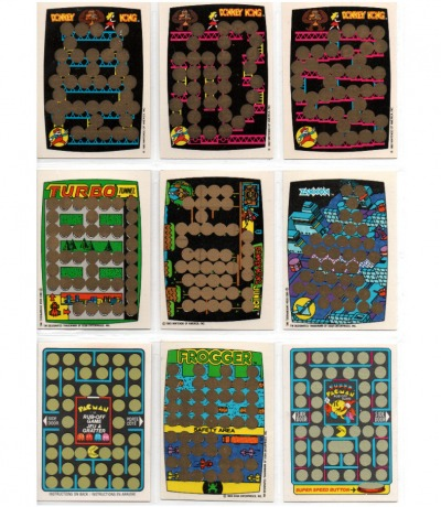 9x Rubbelkarten - DONKEY KONG - Pac Man - Frogger - Zaxxon - Turobo - merchandise - Game&Watch Arcade C64 nes
