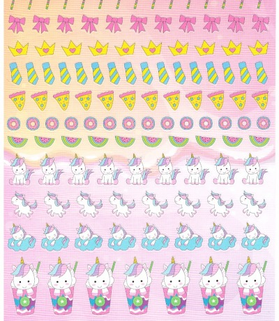 Sticker sheet with different unicorns on