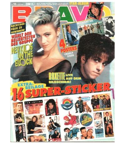 Bravo Nr.16 1990 Heft - New Kids on the Block Madonna Belinda Carlisle Leila K.