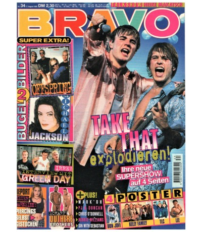 Bravo Nr.34 1995 Heft - Jetzt online Kaufen - Take That Mark Oh Green Day Outhere Brothers PJ & Duncan