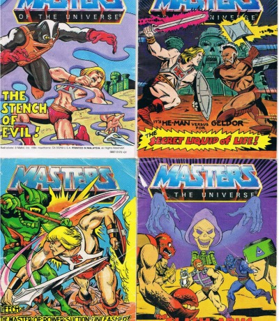 4 Mini Comics - Masters of the Universe He-Man MOTU - Clash of Arms - Stench of Evil - Leech: The Master of Power Suction Unleashed - The Secret Liquid of Life