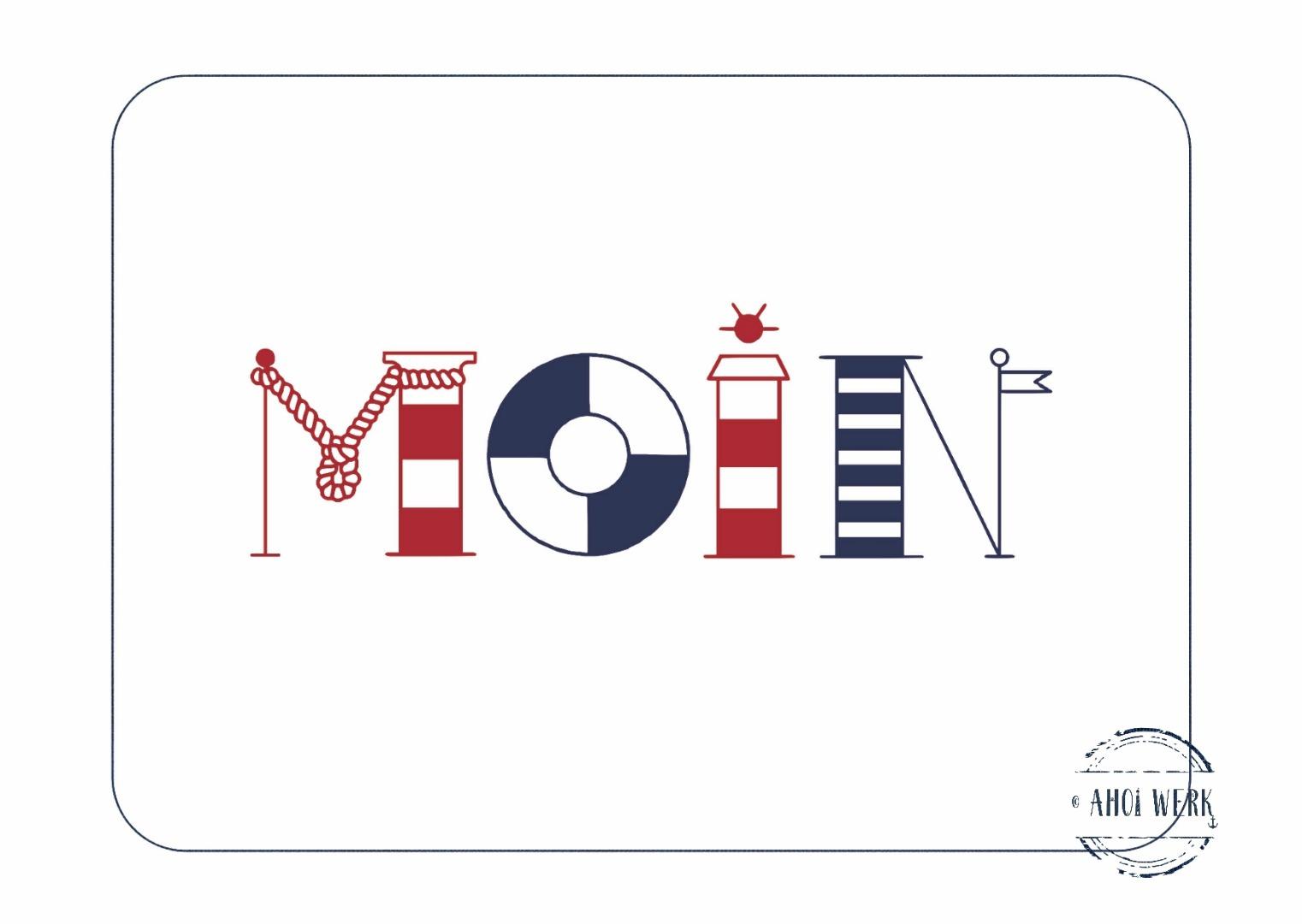 Postkarte Moin maritime Buchstaben