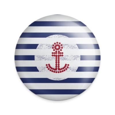 Button Anker blau-weiß gestreiftBUT-06
