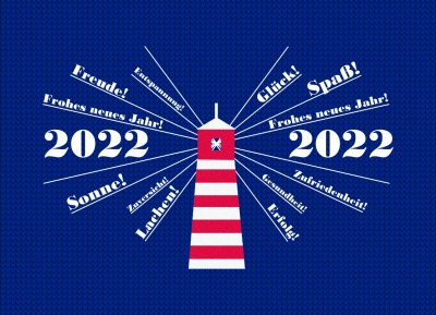 Postkarte Leuchtturm sendet Neujahrswünsche
