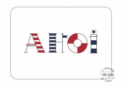 Postkarte Ahoi maritime Buchstaben