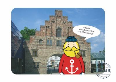 Postkarte Fiete grüßt vom Nordertor erscheint