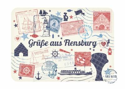 Postkarte Grüße aus Flensburg