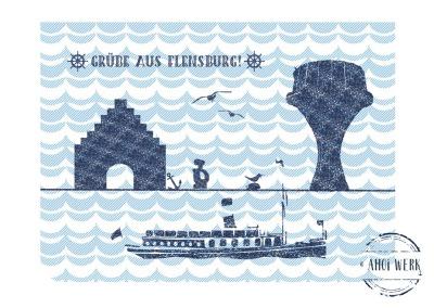 Gruß-/Doppelkarte maritimes Flensburg PK-23