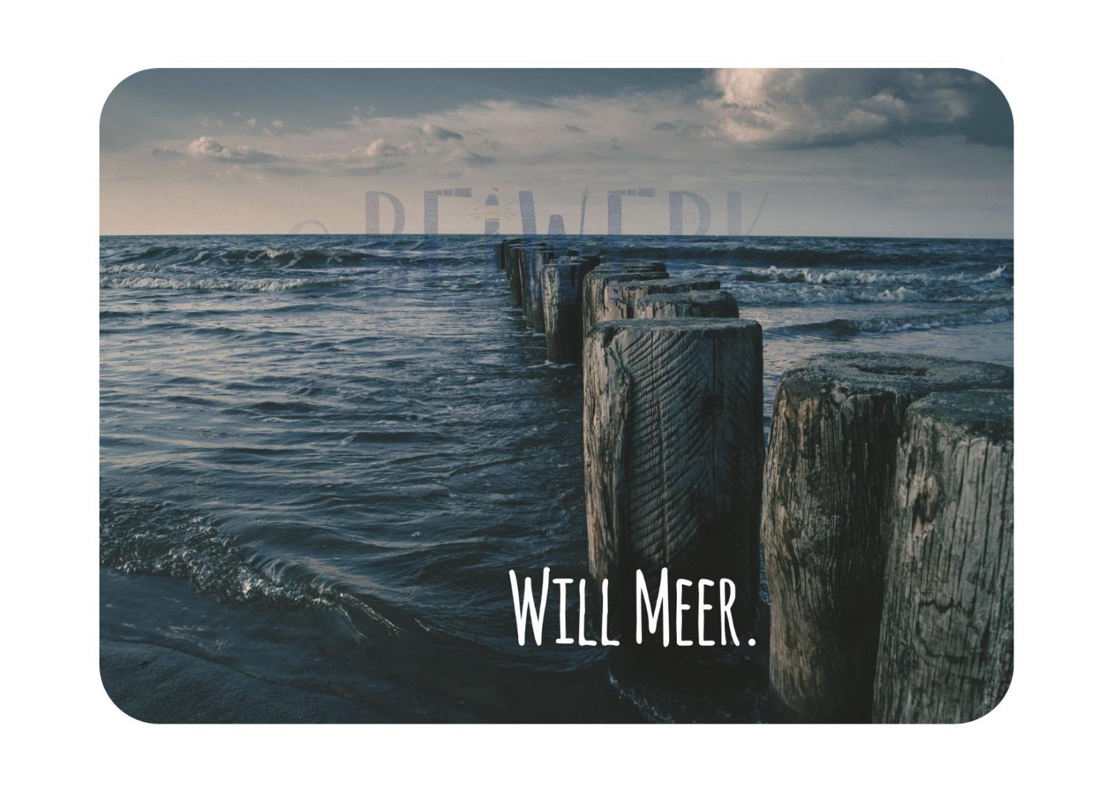 Postkarte Will Meer - 1