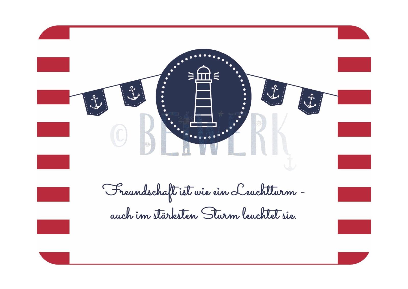 Postkarte Freundschaft/Leuchtturm - 1