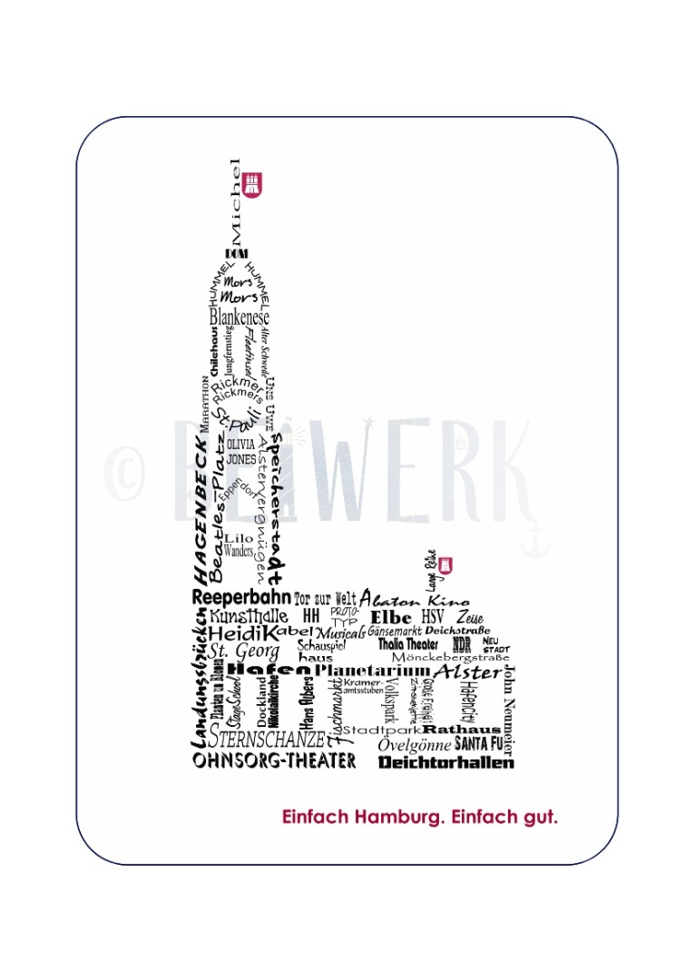 Postkarte Einfach Hamburg - 1