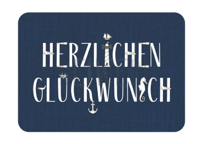 Postkarte Glückwunsch maritim blau