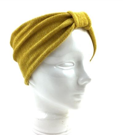 Stirnband EVE gelb - Merinowollmix