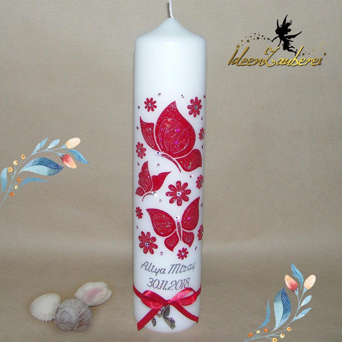 Taufkerze für Mädchen, Taufkerze mit Schmetterlingen, Blumen, rot, mit  Glitzer, Taufkerzen mit Schmetterling, rote Taufkerze / Liebevoll  gestaltete ...