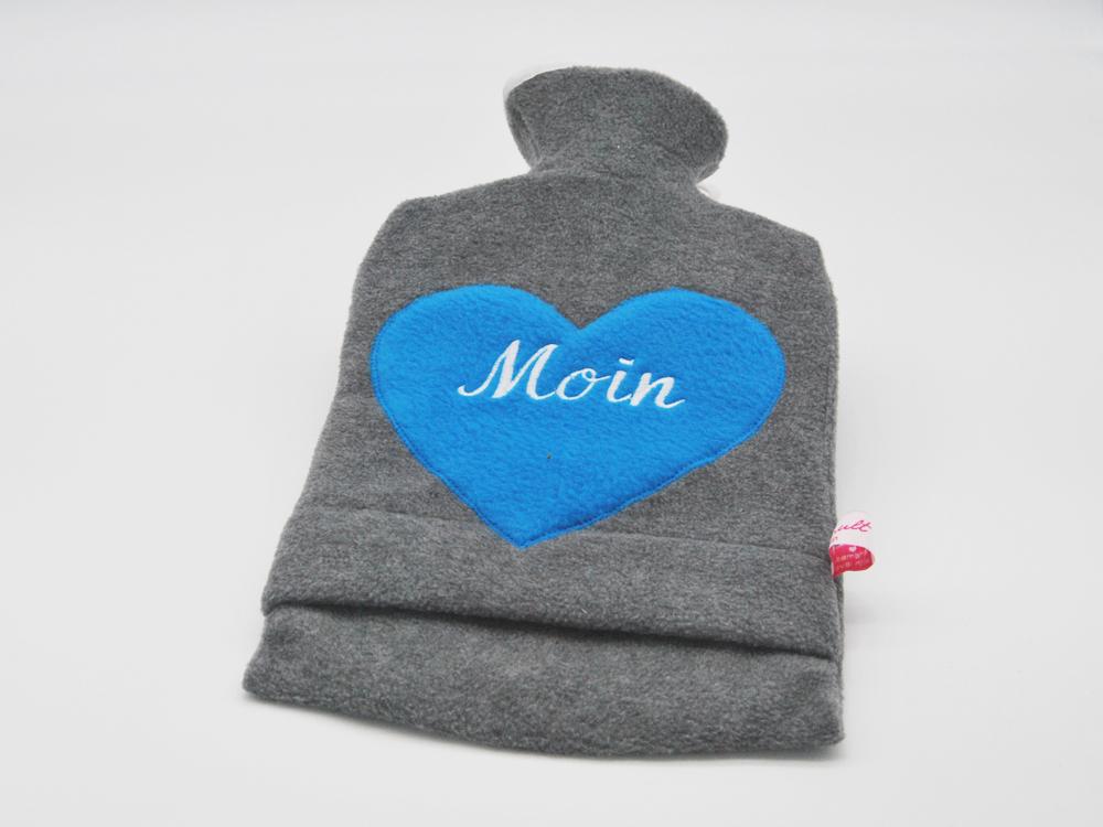 Bestickte Wärmflasche Moin Herz in Türkis - 1