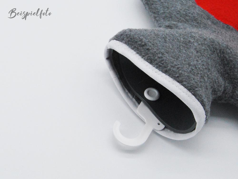 Bestickte Wärmflasche Frostbeule Herz in Türkis - 3